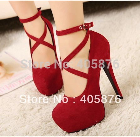 Free Shipping Summer Women s Sexy Pumps Vintage Red Black Bottom Platform Strappy High Heels Party