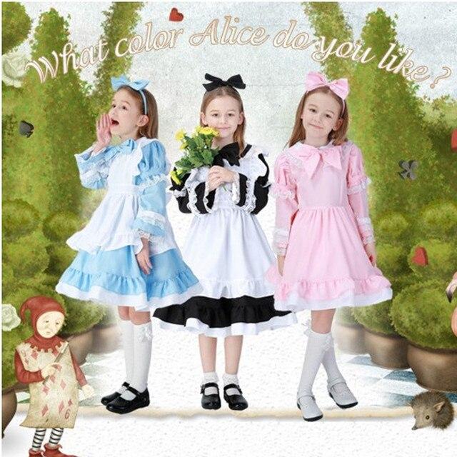 f865b30615ee06 US $26.65 14% OFF S 4XL Alice im Wunderland Cosplay Mädchen Frau Halloween  Prinzessin Kostüm elternschaft familie Passender Kleidung Maskerade Maid ...