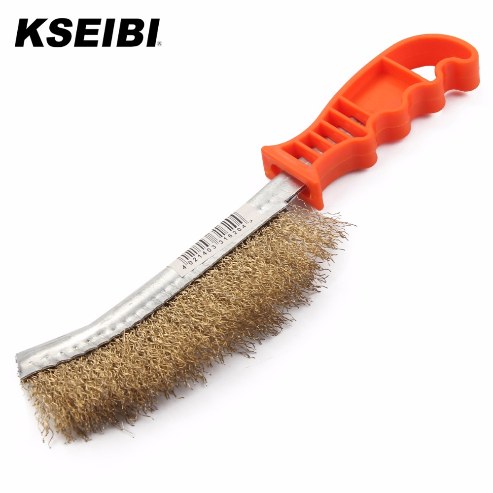 KSEIBI 331620 Brass Coated Hand Wire Brush Plastic Heavy Duty Diy Tool Paint Rust Remover Steel Bristel Wire Scratch Brush