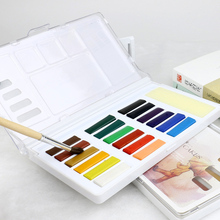 Simbalion Stationery set portable watercolor art transparent painting with 12 color 18 color solid watercolor paint