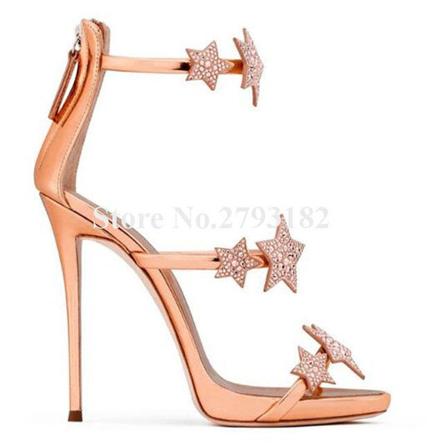a5c0a3ed37c6 Brand Design Women Fashion 3 Straps Bling Bling Pentagram Rhinestone Sandals  Silver Rose Gold Crystal Flat High Heel Sandals
