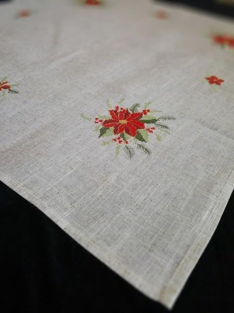 Poinsettia Tablecloth Christmas Poinsettia Embroidery Christmas Table Linen  Home Deocration 85x85cm