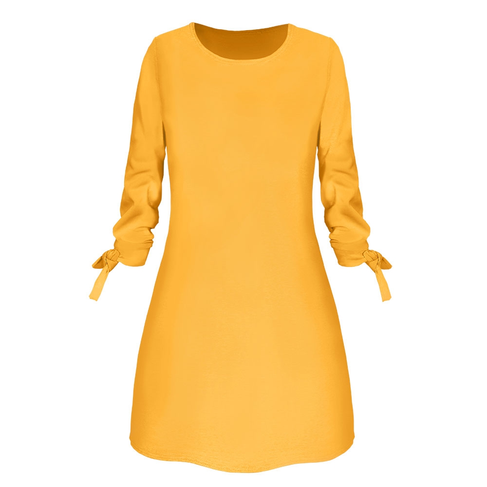19 New Spring Fashion Solid Color Dress Casual O-Neck Loose Dresses Bow Elegant Beach Female Vestidos Plus Size 5XL 2