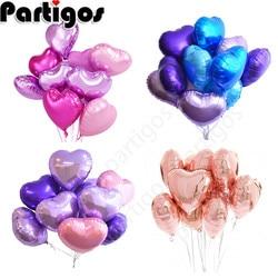 9pcs 18'' Romantic Heart Shape Balloons Pearl Purple Pink Foil helium Love Balloon Wedding Valentine's Day Air Ball Supplies