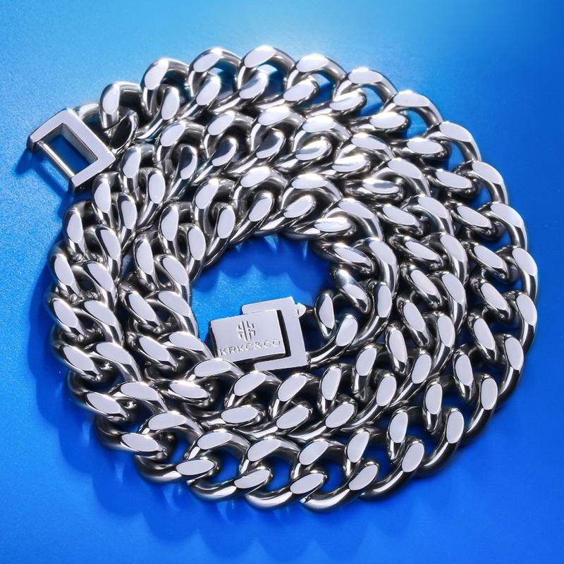 Men 39 s Miami Cuban Link White Gold Cuban Chain 12mm Necklace Stainless Steel Cuban European and American Hip Hop Jewelry in Chain Necklaces from Jewelry amp Accessories