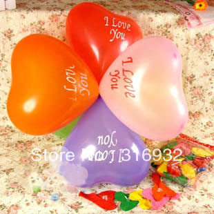 M3 Multi-colored 12  Inch  heart shaped with I love you printed latex balloons, wedding balloons
