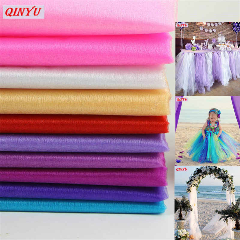 5M/10M Sheer Crystal Organza Tulle Roll Fabric Gauze Element For Wedding Party Decoration New Year Christmas Decoration 6ZSH015