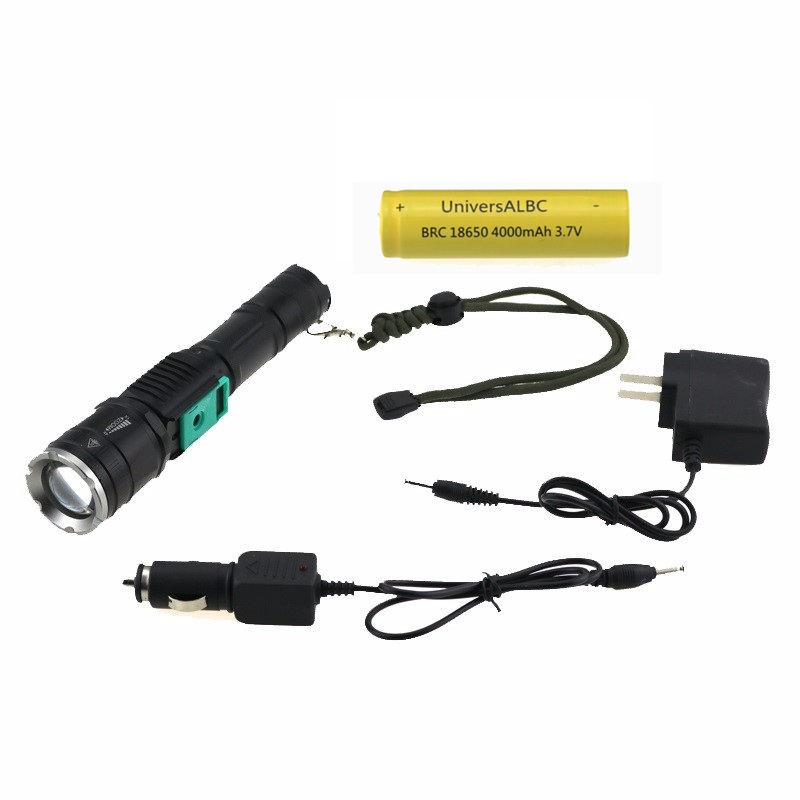 Tactical Hunting CREE XM-L T6 2000 Lumen Zoomable LED Flashlight Torch Lamp Power Bank With 18650 Battery + USB & AC Charger xm l t6 led zoomable led flashlight torch 26650 18650 rechargeable battery usb charge mobile power bank tactical camping torch