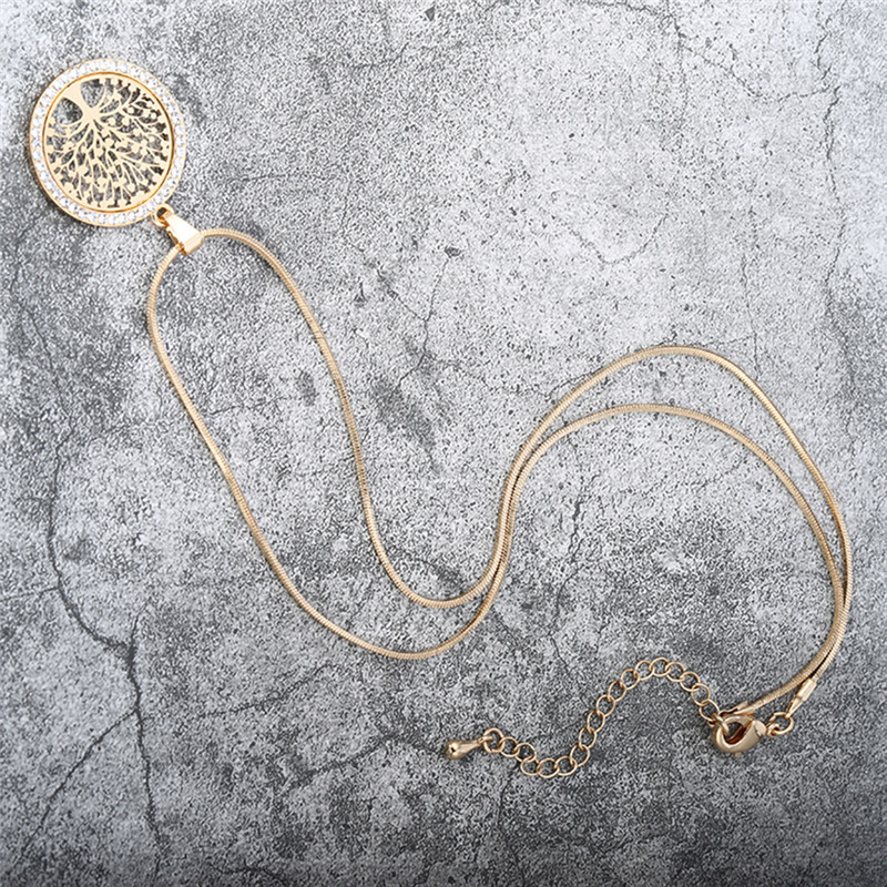 Hot Tree of Life Crystal Round Small Pendant Necklace Gold Silver Colors Bijoux Collier Elegant Women Jewelry Gifts Dropshipping Islamabad