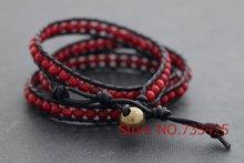 Leather Wrap coral Bracelet & anklets Handmade woven leather bracelet thai style brass bead closure women bracelet & anklets