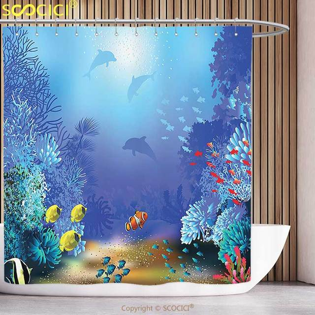 Decorative Shower Curtain Ocean Animal Decor Underwater Coral Reef ...