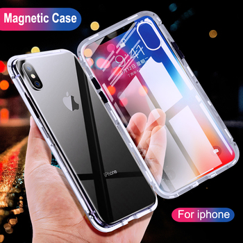 Magnetic Case For iphone X iphone 7 8 Plus Magneto Tempered Glass Case Cover For iphone 6 6s Magnet Adsorption Metal Bumper Capa iphone xr case magnetic