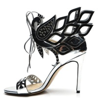 Luxury Shoes Women Designers 2018 Leaf Beaded Sexy Hollow Out Heels Sandals Lace Up Cover Heel Gladiator Female Dress Shoes