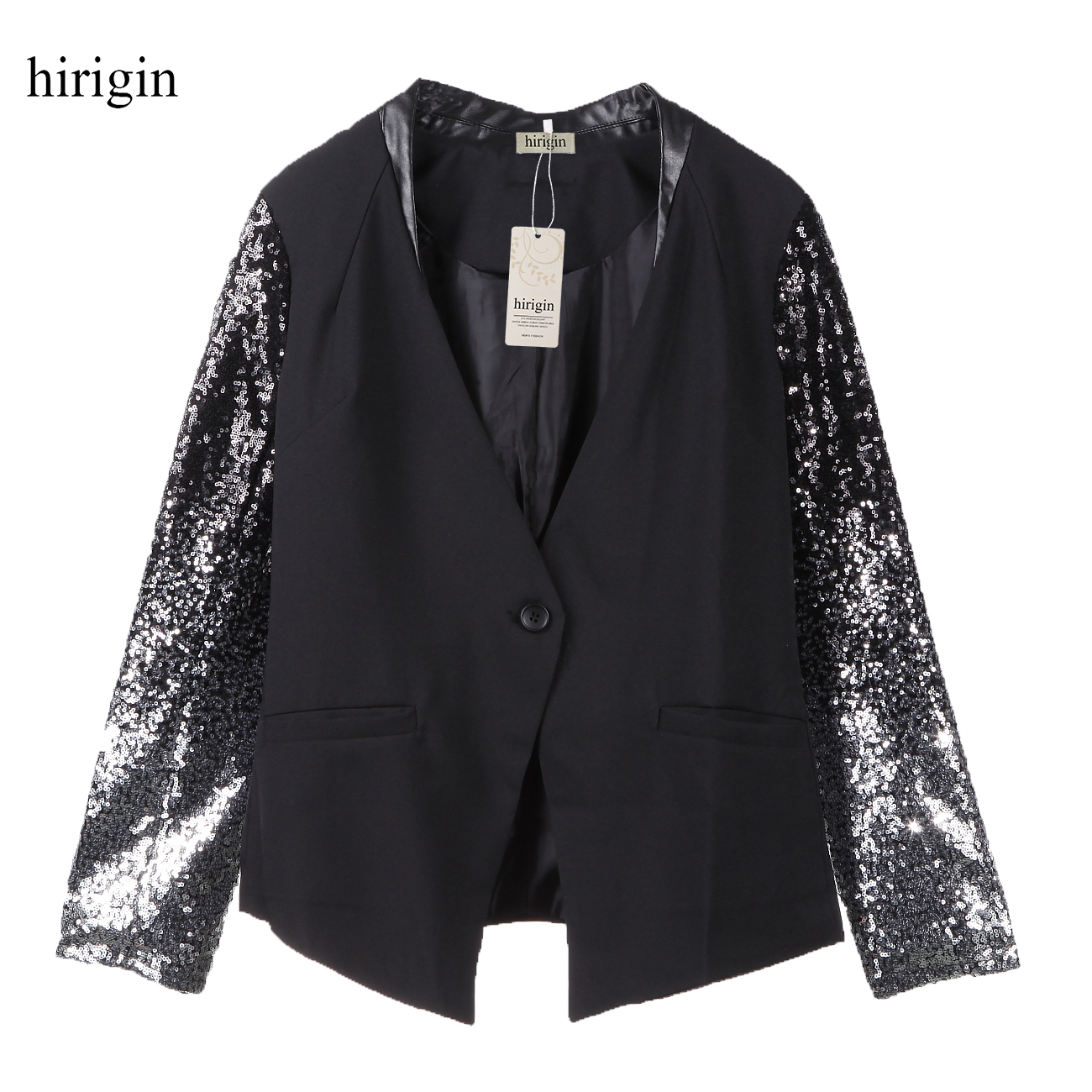 2018 New Fashion Woman Blazer OL Slim Long Sleeve Jacket Sequins Sleeve Blazers Tops Stylish Womens Clothes Cardigan Coats