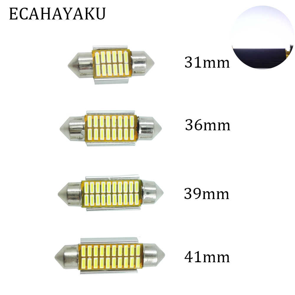 ECAHAYAKU 2PCS Extremely Bright Canbus Error Free 31mm 36mm 39mm 41mm Festoon Dome C5W Car LED Light Bulb Dome Reading Lights