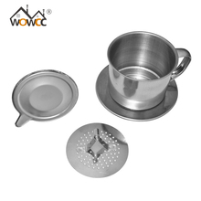 WOWCC 1set  Portable Stainless Steel Coffee Drip Filter Coffee Maker Infuser Vietnam Style Coffee Mug Cup Strainer Coffee Tools