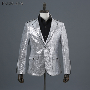 Sliver Sequins Shiny Party DJ Singer Stage Show Suit Jacket Men 2018 Fashion Nightclub Single Breasted One Button Blazer Hombre
