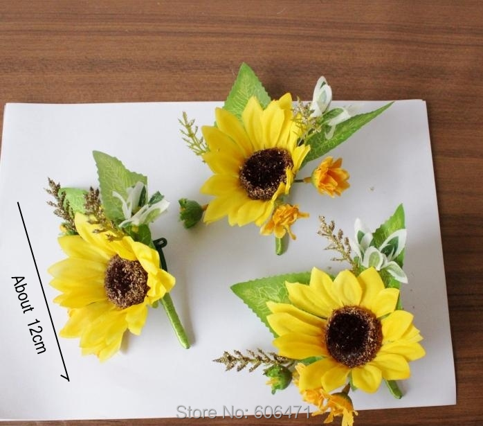 6pcs per lot artificial flower brooch prom corsage sunflower wedding decoration flower free shipping artificial flowers
