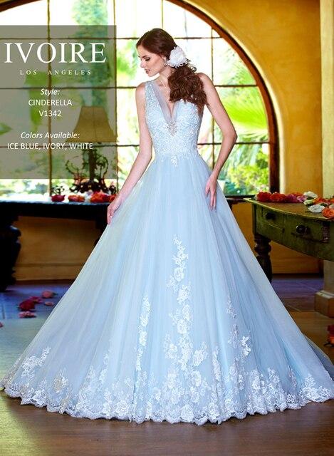 z240 ice blue vestido de bola appliqued cuello en v profundo 2016