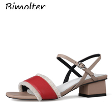 Bimolter luxury Sandals Genuine Leather Buckle Strap Square heels sandals women summer casual Tassel shoes high quality NB114 summer women sandals shoes genuine leather flock nubuck pearl buckle strap solid fashion sweet casual princess square high heels