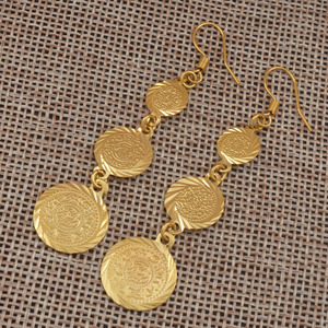 Image 5 - Anniyo gold color muslim islamic earrings coin,Islam ancient coin,Arab jewelry women/gifts,Fashion Gift Item #003306