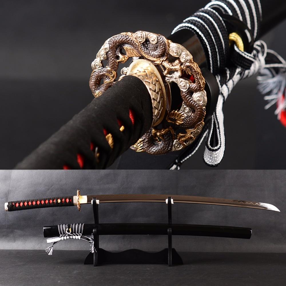 Bradon Espadas De Metal Afiada Espada Samurai Katana Barro Temperado Aço de Carbono Elevado de Treinamento de Alto Grau Japonês Faca Metal Dezembro