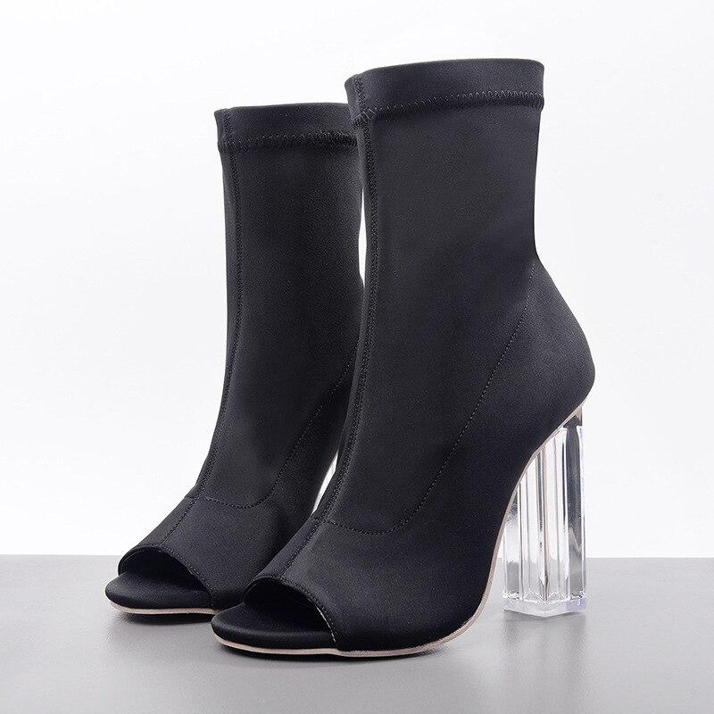 2018 Kardashian Transparent chunky high Heels Sock Boots Women Peep Toe Stretch Slim Ankle Boots Women Trendy Design Shoes