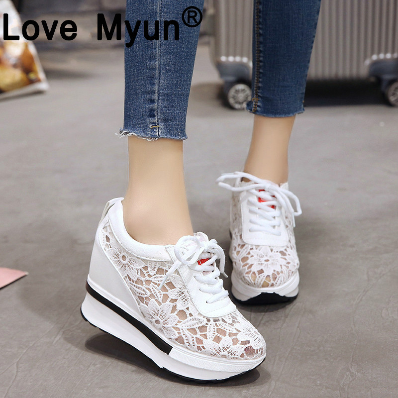 Love Myun 2019 Summer Lace Breathable Sneakers Casual Wedge