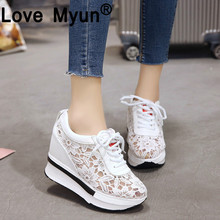 Hot Sales 2019 Summer New Lace Breathable Sneakers Women Shoes Comfortable Casual Woman Platform Wedge Shoes hjm89