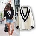 Damas de Gran Tamaño de Punto Suéter de Manga Larga Tops Loose Outwear Coat Grande V-cuello de rayas mujeres suéteres y pullovers WS-037