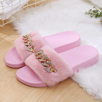 STONE VILLAGE 2019 New Women Slippers rhinestone Chain Fur Slippers Shoes solid Slip on flat Fur Fluffy Sliders shoes woman 3