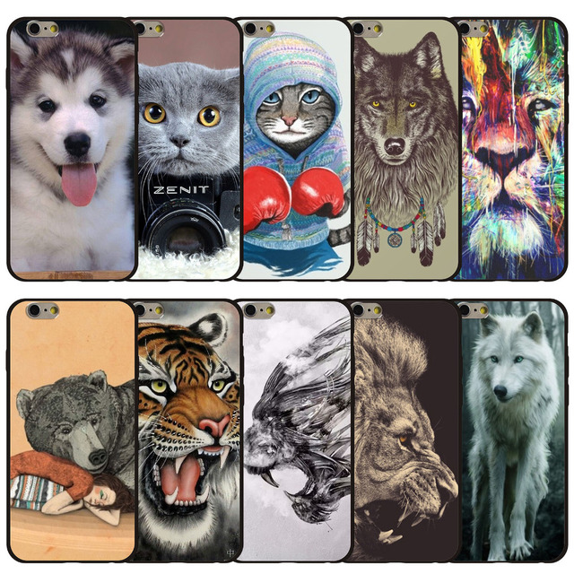 Cute Wild Animals Patterned Tiger Lion Wolf Leopard Cat Dogs Phone Case For iphone 5 5s se