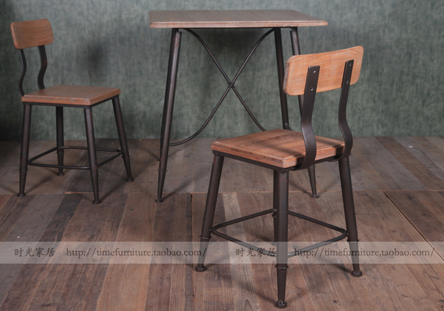 Wrought Iron Dining Chairs Metal Patio Rocking European American Country Loft Old Elm Industrial Style Chair Leisure Bar