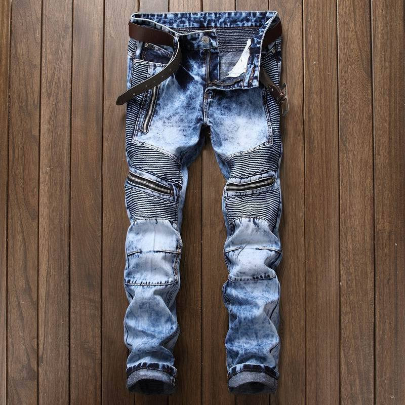 Newsosoo Fashion Men\`s Ripped Pleated Biker Jeans Pants Washed Slim Fit Denim Motorcycle Denim Trousers Straight For Male (3)