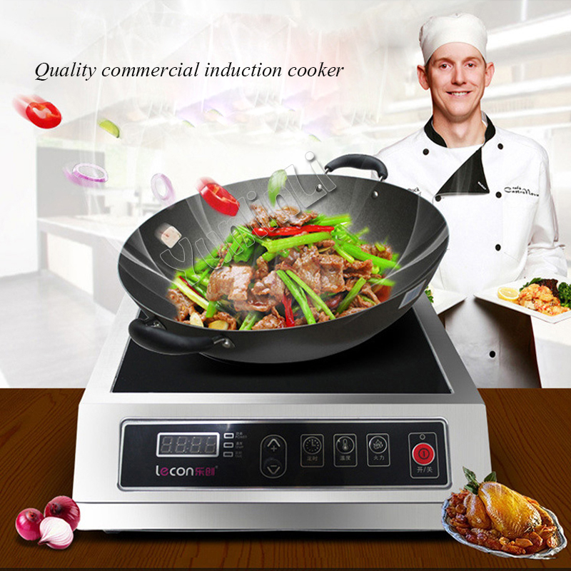 High power electromagnetic oven 3500W Commercial Induction Cooker with digital display multifunctional induction Cooker xeoleo commercial induction 3500w stainless steel induction cookers with timing for hotpot soup stewing stir fly