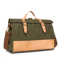 Fashion Canvas Women's Briefcase Bag Female Waterproof Large Capacity Laptop Shoulder Bags Green Blue Messenger Bag