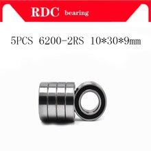 5 шт. ABEC-5 6200 2RS 6200RS 6200-2RS 6200 RS 10x30x9 мм миниатюрный двойной резиновые уплотнения высокого качество шарикоподшипником emq