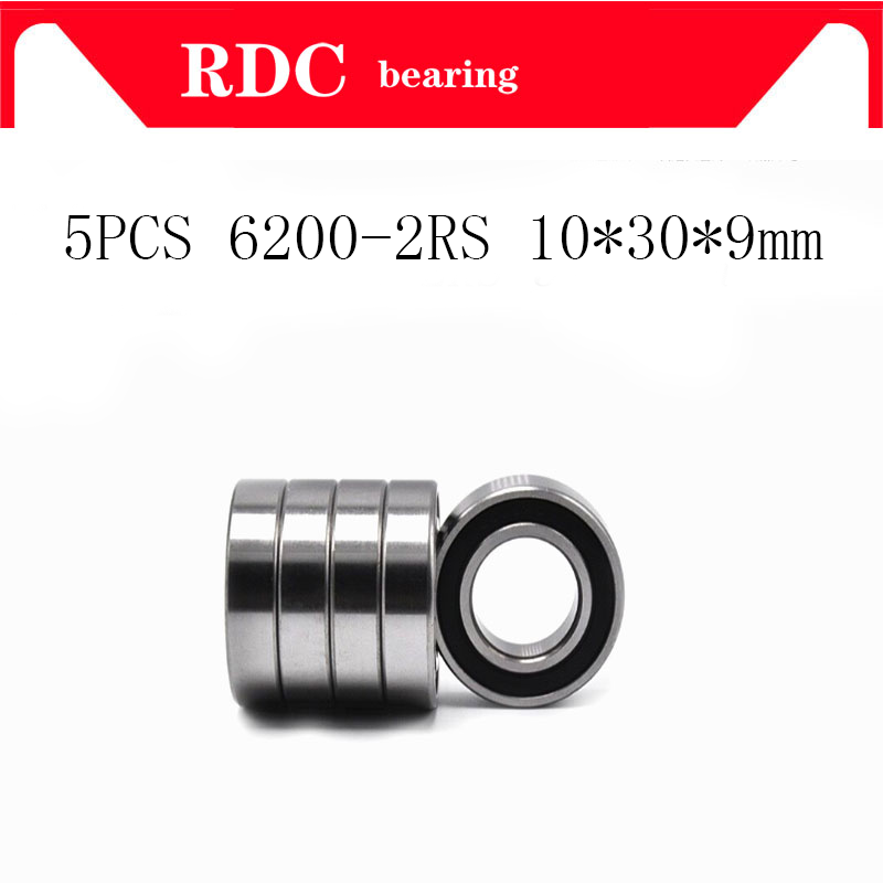 5PCS ABEC-5 6200 2RS <font><b>6200RS</b></font> 6200-2RS 6200 RS 10x30X9 mm Miniature double Rubber seal High quality Deep Groove Ball Bearing EMQ image
