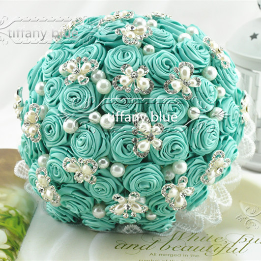 Handmade Original Tiffany Blue Flower Bouquets Pearl Beaded And Brooch  Wedding Bridal Bouquet Tiffany Blue Wedding