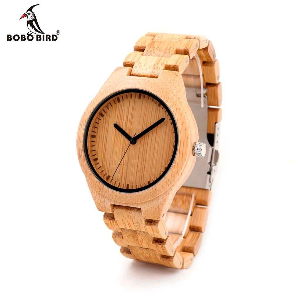 BOBO BIRD Men Dress Bamboo Watches Luxury Men's Top Brand Designer Quartz Watch With Japanese Movement Bamboo Strap For Gift luxury brand bobo bird men s women dress