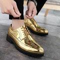 Новые Кожаные Туфли-оксфорды золотистого и серебряного цвета; повседневная обувь; Мужская Демисезонная обувь для свадьбы; официальная обув...