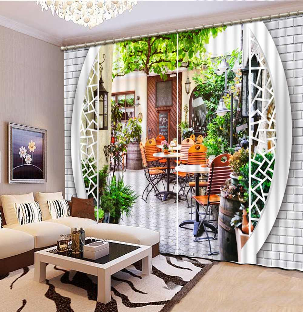 Curtain Design Fashion Customized 13D Curtain Brick Wall Pavilion Landscape  Chair Bed Room Living Room Office Hotel Cortinas