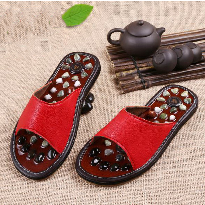 170610/Pebbles massage slippers / female summer health foot acupoint foot foot shoes / men home non-slip massage cooler slippers 1 pair health care foot acupoint massager flat slippers for male female