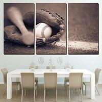 Decoração Da Casa da lona Imprime HD Poster 3 Peças Cinza de Beisebol Bat Luva Pinturas Para Parede Da Sala de Arte Fotos de Esportes emoldurado