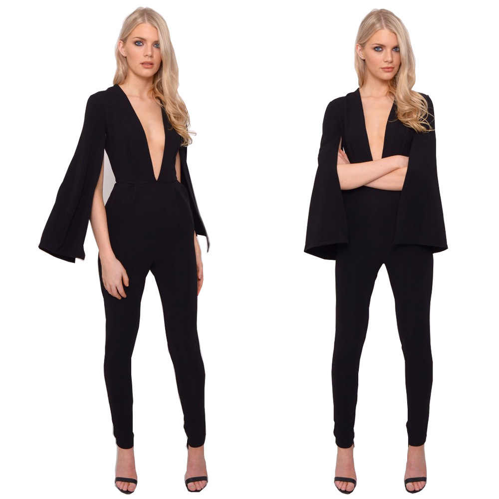 abe78316ea79 European new sexy rompers womens jumpsuit Long Pant 2018 New Spring Autumn Fashion  Elegant Long Flare