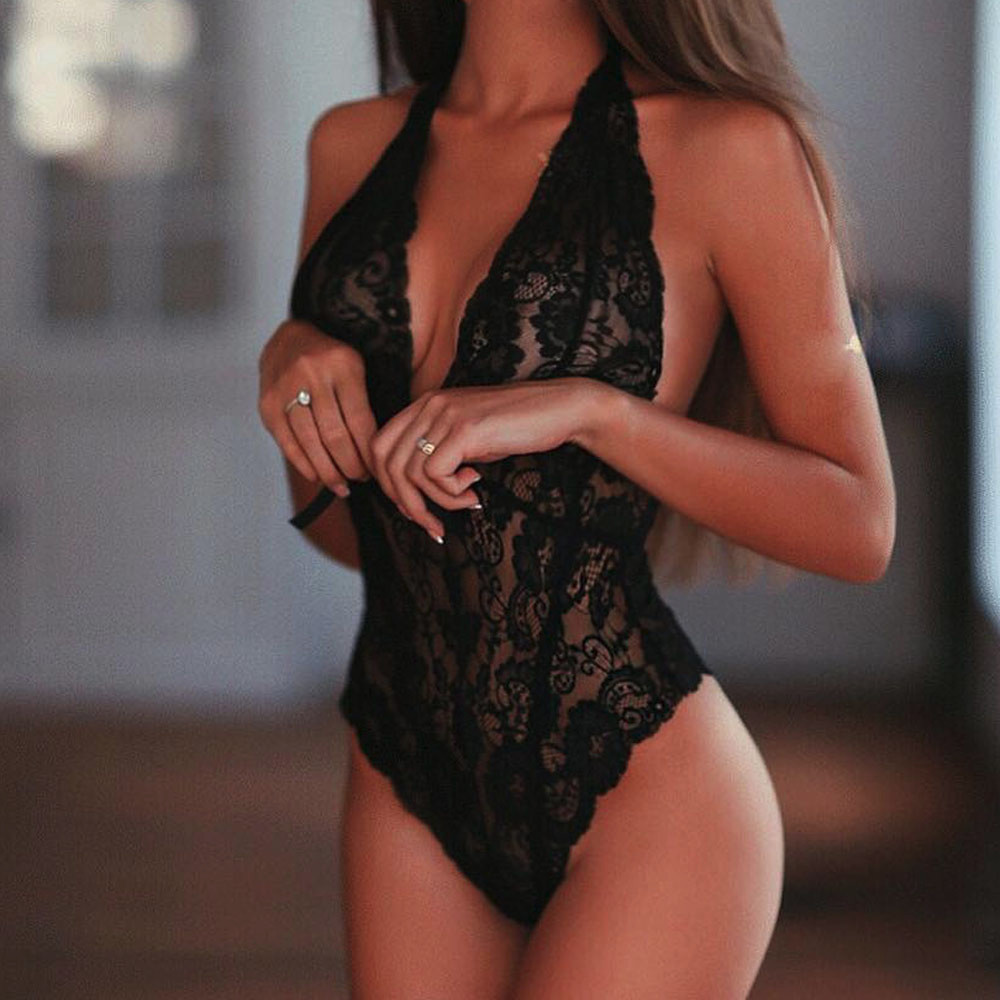Women Girl Underwear 2019 Fashion Tempting Sexy Lace Cups Backless One-Piece Lingerie Lingerie Femme Sexy Underwear Women Erotic