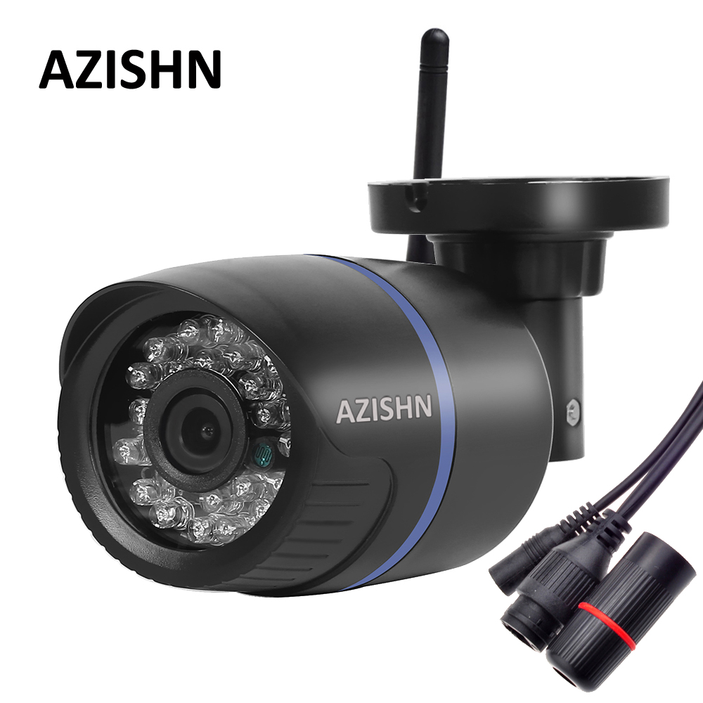 AZISHN Wifi ONVIF IP Camera 720P 960P 1080P Wireless Wired P2P Alarm 24IR CCTV Bullet Outdoor Camera With SD Card Slot Max 64G hd 720p 1080p wifi ip camera 960p outdoor wireless onvif p2p cctv surveillance bullet security camera tf card slot app camhi
