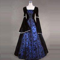 Хэллоуин готический викторианской Косплэй платья Средневековый Ренессанс Цветочный принт Маскарад вечерние бальные платья для девочек мо