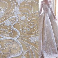 White Beaded Tulle Fabric Laces Lace Embroidery Fashion French Cord Lace Fabric For Women Dress