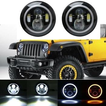 2PCS 7Inch Round LED Headlight with White DRL Amber Turn Signal for Jeep Wrangler JK TJ LJ CJ Hummer H1&H2 Land Rover Defender